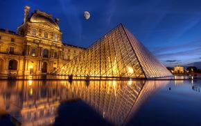 город, Париж, ночь обои, фото