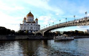 Москва, церковь, река, мост, теплоход обои, фото