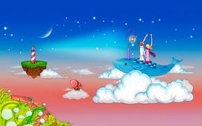 романтика, любовь, пара, парень, девушка, небо, облака, кит, фонарь, островок, маяк, вектор, рисунок обои, фото
