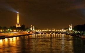 Париж, Эйфелева башня, вода, город, огни, ночь обои, фото