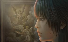 Картина, ангел, дьявол, рога, змея, небо, мужчины, девушка, крупный план обои, фото