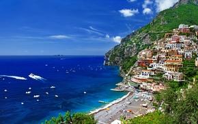 Италия, горы, дома, деревья, природа, море, побережье, люди обои, фото