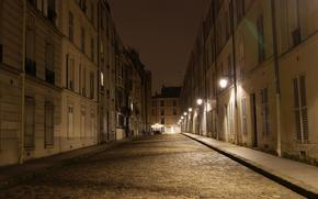 ночь, улица, Париж обои, фото