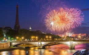 Париж, город, ночь, салют, река, мост обои, фото