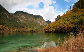горы, Китай, Сычуань, река Минь обои, фото