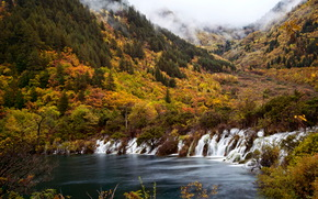 dragon falls, jiuzhaigou valley, Китай, водапад, горы, туман обои, фото