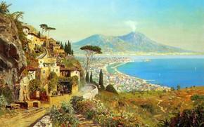 пейзаж, живопись, залив, море, Неаполь, горы, вулкан, Везувий, Италия, Тирренское море обои, фото