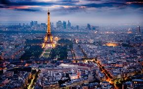 Париж, город, ночь обои, фото