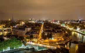 france, Франция, Париж, paris, город, архитектура, дома, улицы, здания, мост, река, ночь, панорама обои, фото