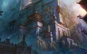 арт, природа, фантастика, япония, китай, храм, горы обои, фото