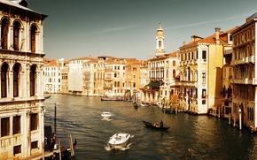 Венеция, Италия, архитектура, дома, вода, море, канал, лодки, гондолы, люди обои, фото