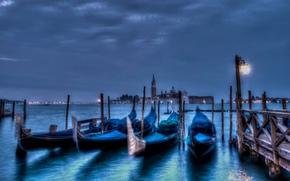venice, italy, Венеция, Италия, город, вечер, ночь, пристань, канал, море, гондолы обои, фото