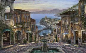 живопись, Италия, Вернацца, Итальянская Ривьера, море, побережье, фонтан, вечер, дома, картины, плетущиеся цветы обои, фото