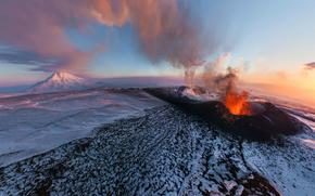 Плоский Толбачик, вулкан, извержение, Камчатка обои, фото