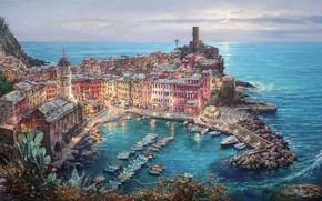 живопись, Средиземное море, Вернацца, Италия, причал, лодки, город, дома, собор, лунный свет обои, фото