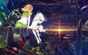 Девушки, крыши, вечер, закат, снег, цветы, божья коровка, зима, лето, персонификации обои, фото