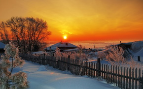 закат, зима, деревня обои, фото