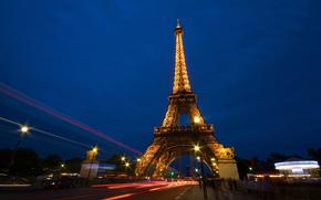 eiffel tower, la tour eiffel, france, paris, Эйфелева башня, Франция, Париж, ночь, город, люди, дорога, выдержка обои, фото