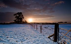зима, снег, забор, деревья, закат обои, фото