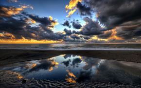 Италия, Лацио, porto clementino, небо, вечер, тучи, море, берег, пляж, отражения, paolo capoccia photography обои, фото