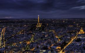 france, Франция, Париж, paris, город, ночь, панорама, eiffel tower, Эйфелева башня, свет, дома, здания, архитектура обои, фото