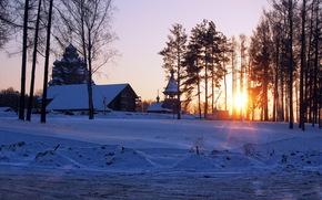 зима, закат, храм обои, фото