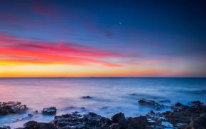 Австралия, Мельбурн, небо, закат, луна, море, океан, камни, зима, tom perkins photography обои, фото