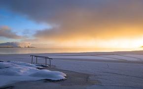закат, река, зима, пейзаж обои, фото