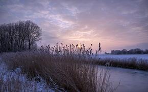 закат, река, зима обои, фото