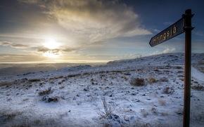закат, поле, зима, указатель обои, фото
