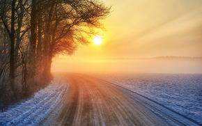 закат, дорога, зима обои, фото
