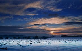 закат, зима, поле, природа, небо, пейзаж обои, фото