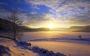 зимний пейзаж, закат, солнечный свет, снег, красивый вид, зима обои, фото