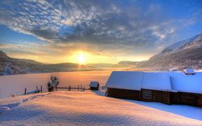 закат, зима, поле, дома обои, фото