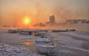 река, лодки, закат, зима, город обои, фото