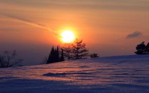 закат, зима, пейзаж обои, фото