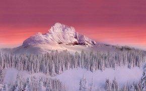 горы, зима, закат обои, фото
