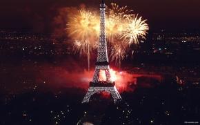 ночь, город, салют в париже обои, фото