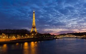 эйфелева башня, париж, ночь обои, фото