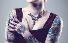 Девушка, тело, татуировки, рисунки, грудь обои, фото