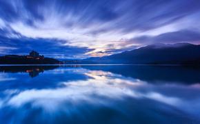 Китай, КНР, Тайвань, вечер, закат, небо, тучи, синева, горы, дымка, озеро, вода, гладь, отражение обои, фото