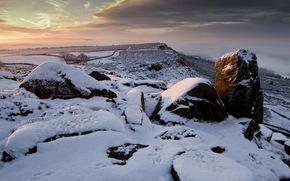 закат, камни, зима обои, фото