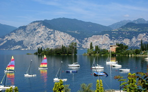 Корабли, Парусники, Италия, Венето malcesine, море, горы обои, фото
