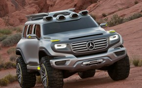 машины, авто, концепт, кар, внедорожник, джип, мерседес, бенц, пустыня, горы, кусты, Mercedes обои, фото