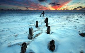 закат, поле, зима обои, фото