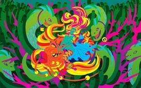 рисунок, вектор, рыба, змеи, девушка, водоросли обои, фото