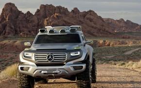 машины, авто, концепт, кар, внедорожник, джип, мерседес, бенц, пустыня, горы, Mercedes обои, фото