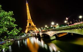 la tour eiffel, eiffel tower, paris, france, Эйфелева башня, Париж, Франция, город, мост, ночь, Сена, река, свет обои, фото