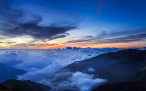 Китай, Тайвань, Национальный Парк, горы, холмы, деревья, дымка, туман, облака, небо, вечер, закат обои, фото