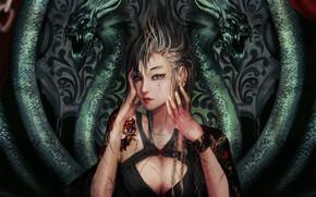 арт, девушка, драконы, порезы, раны, тату, узоры, татуировки обои, фото